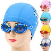 Baby Child Kid Swimming Bathing Hat Cap Durable Elastic PU Swim Cap+Swim Goggles