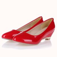 Womens PU Leather Pointed Toe Platform Low Wedge Heels Pumps Shoes Plus Size