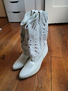 Vintage Dingo Boots White Leather Western Cowgirl Women Size 6M