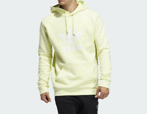 Adidas Pullover Sweatshirt Adjustable Hood Kangaroo Pocket Long Sleeve Ice Yel