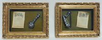 Pair Antique/Vtg ITALY Gold MOP Musical Instrument SHADOW BOX Wall Art Pictures