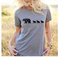 Summer Women Mama Bear Letter Printed T-Shirt Short Sleeve