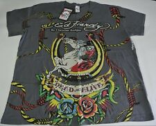 Ed Hardy Audigier DEAD OR ALIVE Charcoal V Neck Rope Horse Shoe Roses Unisex XXL