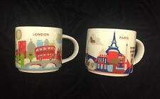 Starbucks London Paris Mug YAH Set You Are Here Big Ben Eiffel Tower Coffee Cups