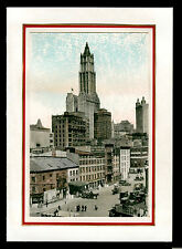 vintage hand colored Christmas card old view street signs lower New York City