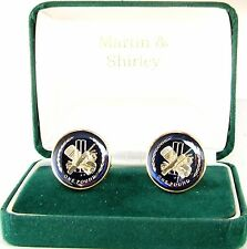 CRICKET  £1 Cufflinks made from real coins in BLUE & GOLD