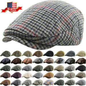 Newsboy Ivy Ascot Cabbie Hat Cap Plaid Wool Herringbone Gatsby Golf Driving