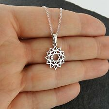 Heart Chakra Pendant Necklace - 925 Sterling Silver - Outline Gift Energy NEW