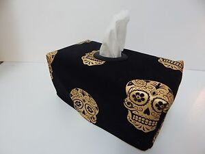 Tissue Box Cover Gold Sugar Skulls on Black With Circle Opening - Great Gift!