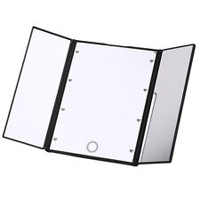 Foldable Tri-sided Lighted Beauty Vanity LED Makeup Cosmetic Square Shape Mirror