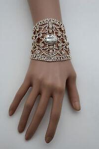 Women Gold Metal Chains Bracelet Silver Rhinestones Bridal Wedding Wrist Jewelry