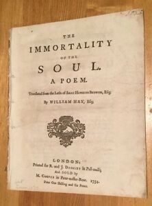 1754 - The Immortality Of The Soul. A Poem.  Isaac Browne. trans. William Hay.