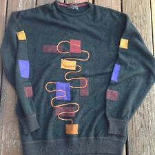 Vintage Vittorio Rocchetti Black Mod Mens Sweater XL Extra Large Geometric 80s