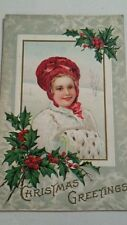 VINTAGE POST CARD CHRISTMAS PRETTY GIRL W FUR HAND MUFF