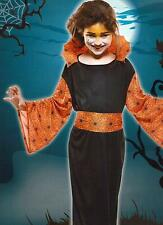 Kinder Kostüm Spinnenfrau Hexe Grusel Halloween Horror Fasching Karneval Gr S