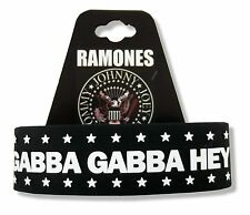 "RAMONES ""GABBA GABBA HEY"" STARS BLACK RUBBER WRIST BAND BRACELET NEW OFFICIAL"