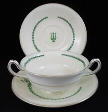 Minton LYRE GREEN Cream Soup Bowl + 2 Saucers S107 GREAT VALUE