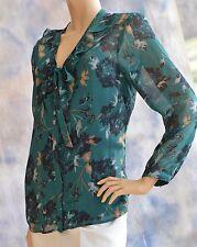 DANA BUCHMAN Sz L 2-Piece Blouse Shirt w/ Black Cami Tank Green Floral Polyester