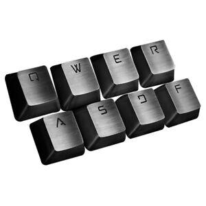 8 Keys Gaming Metal Keycap QWERASDF + Keycaps Puller for MX Mechanical Keyboard