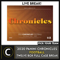2020 PANINI CHRONICLES FOOTBALL 12 BOX (FULL CASE) BREAK #F702 - PICK YOUR TEAM