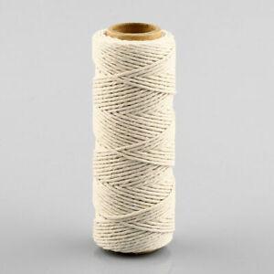 50M Natural Handmade Cotton Piping Cord Draw String Craft Macrame Artisan String