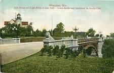 Wisconsin, WI, Milwaukee, Lion Bridge & Light House at Lake Park UDB  Postcard