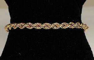 "Nice Vintage Men's 14K Yellow Gold 5mm Hollow Rope Chain Bracelet 7.75"" (6.53g)"
