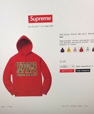 SUPREME FW17 PAISLEY F*** EM ALL HOODIE LIMITED WEEK 2 LOGO SCARFACE Red