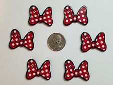 6 Pcs Lot Minnie Mouse bow Flatback Resin Cabochon Hair Bow Center Supply.