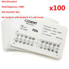 100x Dental Ortho  Metal Brackets Braces Hooks 3 Standard MBT Slot.022 Allguest