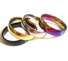 Wholesale 100pcs SILVER BLACK GOLD RAINBOW top MIX of Stainless Steel Band Rings