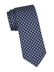 NEW Authentic SALVATORE FERRAGAMO Mens Dog Navy Blue Silk Tie