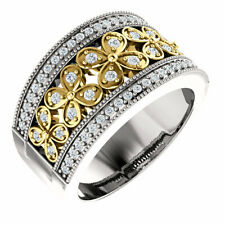 Yellow & White 14K. Solid Gold Genuine 3/8 ct tw Diamonds Flower Style Band Ring