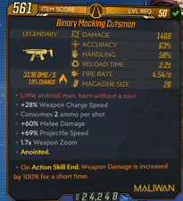 PC - Anointed Fire Binary Cutsman -100% Weapon Damage ASE - Borderlands 3 BL3