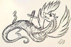 Dying DRAGON 8 x 10 Fantasy Art Print Signed by Artist KSams Sword Ink Art