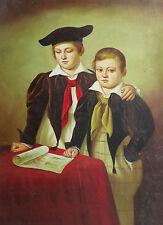 Dipinto Olio su Tela - 50x70 cm - Ritratto di Adolescenti - Quadro Uomo Bambini