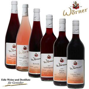 WEINGUT WÖRNER: 6 Fl. Wein Rotwein + Rosé lieblich-süß Probierpaket aus d. Pfalz