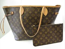 LOUIS VUITTON MONOGRAM COATED CANVAS NEVERFULL MM TOTE HANDBAG W/ POUCH CLUTCH
