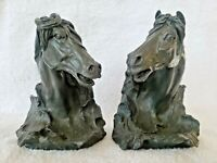 Horse Head Book End Bust Equestrian Stallion Colt Angry Grey Set EUC