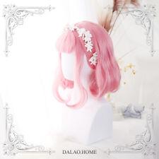 Girl Pink Curls Short Wig Cosplay Harajuku Gothic Lolita Mixed Gradient Princess