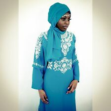 Dubai Style Kaftan Farasha Jalabiya Maxi Dress Abaya Sea Blue