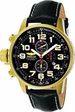Invicta Men's I-Force Chrono Lefty 100m Gold Tone S. Steel Leather Watch 3330