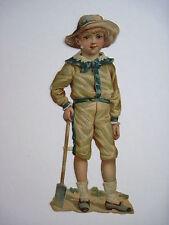 Vintage Die Cut of Little boy Carrying a Shovel  *