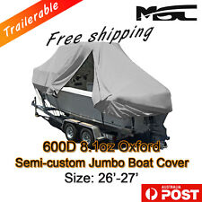 MSC New Design with Zipper 600D 7.9-8.2m 26ft-27ft T-Top Jumbo Boat Cover Grey