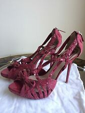 Pink Dior Flower Sandals Heels like Sex and the City Gladiator SZ 39.5/UK 6.5