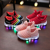 Kids Girls Boys LED Trainers Shoes Children Toddler Flashing Light Up Sneakers
