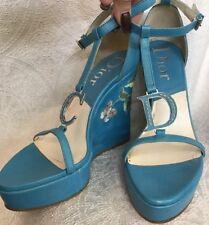 Christian Dior Platform Shoe Blue  Leather Floral Embroidered Heel  Size 39 New
