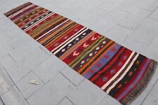 "Vintage Handmade Turkish Anatolian Wool Muted Red Runner Rug   124""x27"""