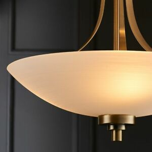 KADEN Antique Brass Semi Flush Ceiling Light with White Lined Painted Shade E27