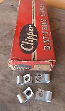 Vintage NOS 1940's 1950's Positive battery cable strapstraps clamps Clipper